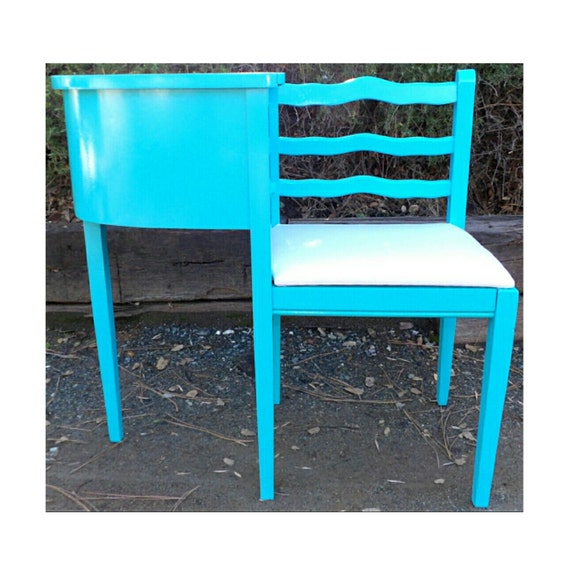 Gossip Bench Antique Phone Table Chair Boomerang Aqua Blue