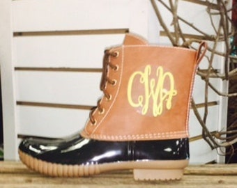 Embroidered Black Duck Boots