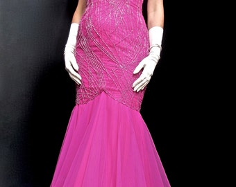 Glamorous Vintage Hollywood Style Couture Fuchsia Pink Heavily Beaded Tulle Mermaid Fishtail Prom Evening Gown Dress 1980's 80's Size 10