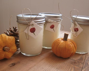 Three Autumn Scented Soy Candles in 8oz Mason Jar