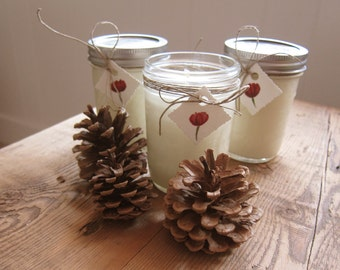Three Holiday Scented Soy Candles in 8oz Mason Jar