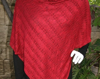 Poncho with Cowl Neck Pointelle Seater Knit Cranberry Red