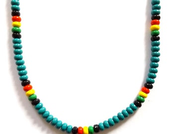 Turquoise rasta reggae Jamaican style surfer necklace, colourful beaded Bob Marley style.