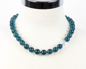 Blue Fluorite Necklace, Natural Gemstone Necklace, Beadwork Single Strand Necklace, Gemstone necklace, Handmade Jewelry, Gemstone Jewelry