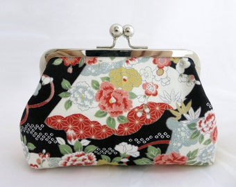 Japanese Clutch, Kimono Style Purse, Clutch Purse, Japanese Clutch, Bridesmaid Gift, Japanese Purse, Elegant Purse,  Kisslock Clutch Purse