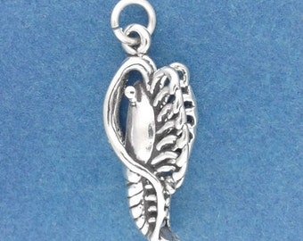 SHRIMP Charm .925 Sterling Silver, Shellfish, Ocean Seafood Pendant - lp2723