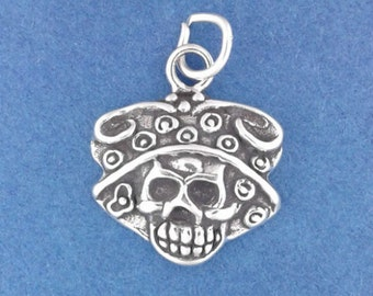 Sugar Skull Charm, CALAVERA CATRINA, Day Of The Dead, Halloween .925 Sterling Silver Charm