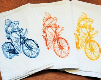 Flour Sack Tea Towel Set of 3 - Screen Printed Cotton - Fish On Vintage Bicycle Tea Towels - Kitchen Towels Gift Set - Wedding Gift