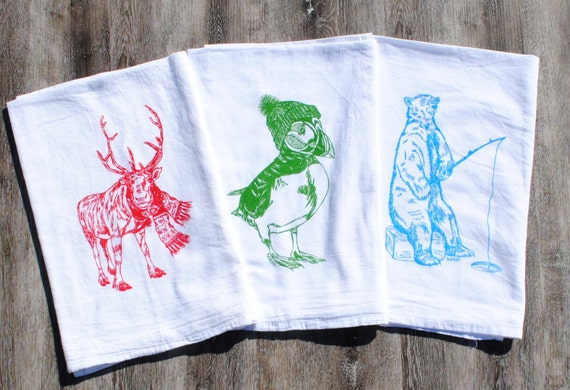 Winter Tea Towels Set Of 3 Country Kitchen Country Dish