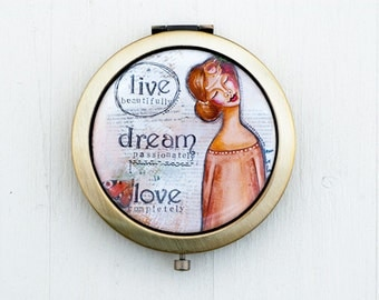 Bridesmaid Compact Mirror - Purse Mirror - Mothers Day Gift - Live Love - Positive Affirmation for Women - Whimsical Art - Inspirational Art