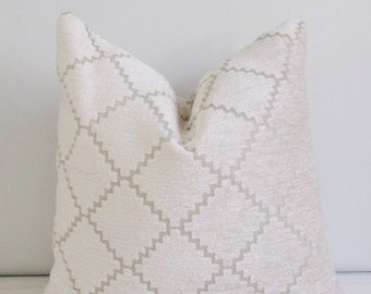 Cream Chenille Pillow Cover 18x18, 20x20 Square Throw Pillow, Accent Pillow, Toss Pillow 16 22 24 26 Euro