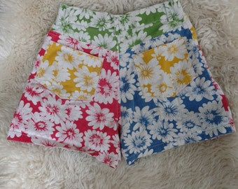 90s Colorblock Floral High Waisted Denim Shorts 23/24 XXS 00