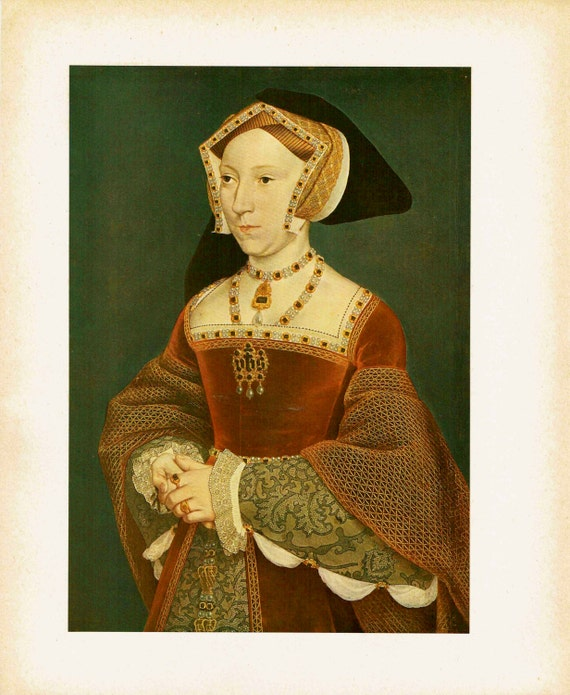 Antique print of painting by Hans Holbein the Younger of Jane Seymour, one of Henry VIII's wives, high quality print, 1926