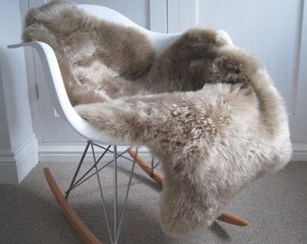 Taupe Sheepskin Rug Neutral supersoft luxury sheepskin, bed cover, chair cover, hygge , fur , hide , ryg, carpet,