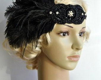 Ready to ship Black Rhinestone Vintage Inspired The Great Gatsby1920s headpiece Flapper Feather Headband, boho, rhinestone beaded headband