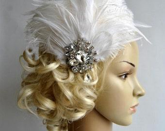 Rhinestone Flapper headpiece,1920's flapper Headpiece, The Great Gatsby, rhinestones fascinator, vintage rhinestone brooch, silver black