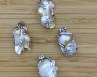Mother Of Pearl Pendant, Blister Pearl Pendant, Silver Tone   4 PCS