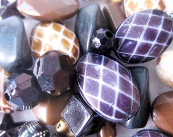 42pc, Black/Brown ACRYLIC Bead Mix!~ Beading Supplies