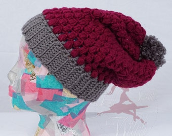 Puff Stitch Slouch Crochet Hat