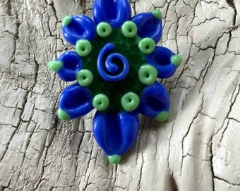 HandMade Lampwork -:-  Flower Focal - Floral Pendant - Blue- Green Colorful-  Artisan Made in the USA - Fully Kiln Annealed -