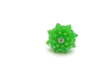 Green Flower Ring Kawaii Adjustable Ring  Shiny Statement Ring Dahlia Ring  Mum Ring Cosplay Mum Jewelry Flower Jewelry Dahlia Jewelry