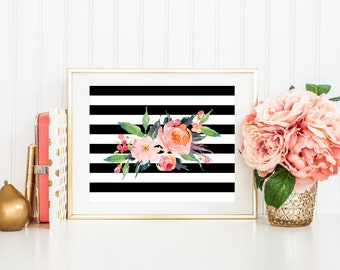 Flower Printable Art Print, 8x10 Black and White Stripes, Watercolor Flower Bouquet, Floral Poster, Boho Home Decor, Botanical, Download
