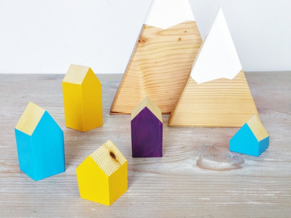 Happy Little Neighborhood - Wood Block Houses - Plum, Mustard, Turquoise - FALL - Natural Wood - Montessori, Waldorf, Homeschool