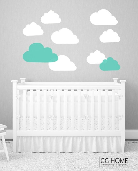 cloud decals Nursery stickers CLOUDS pierrot pattern mint cloud Decoration for kids wall decal CGhome