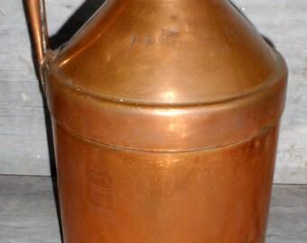 Antique Copper Hood 8 Qt. Milk Can Henry E. Wright Charlestown Boston MA c. 1880