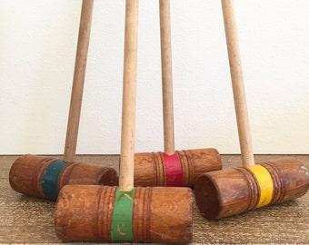 Children's Croquet Mallets; Wood Croquet Mallets for Children; Game Room Decor; Repurpose Croquet Mallets