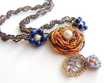 Beaded necklace/  beadwoven necklace/  one of a kind jewelry/ Blue necklace/  Beadwork necklace/ Gold and blue/ Swarovski pearls and crystal