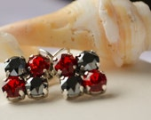 RESERVED -- PETERS Swarovski Leverback Earrings 6mm Shades of Red and Black