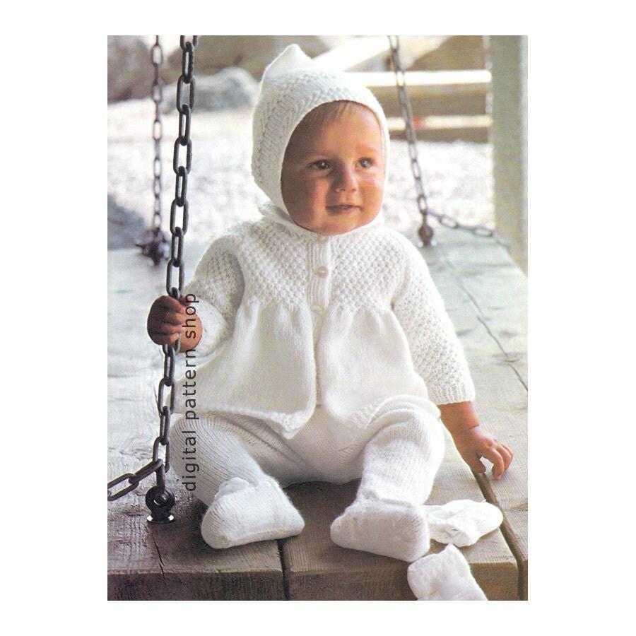 Sweater Coat Knitting Pattern : Vintage baby knitting pattern sweater coat leggings pixie hat