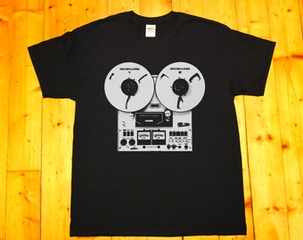 Retro tape recorder, reel-to-reel, stereo tape deck, pioneer, Shoegazer - screen printed T-shirt