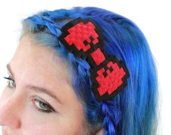 8 Bit Bow Headband, Pixelated, Multiple Colors