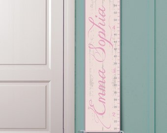 "Personalized Growth Chart ""Vintage Ruler"" in Pink"