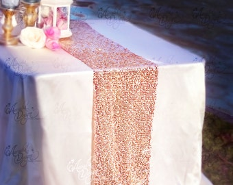 Rose Gold Sequin Table Runner Sparkly Mauve Pink Sequin Runner for Wedding Party, Dinner Reception, Gift, Event, Bridal Shower, 1 DAY SHIP