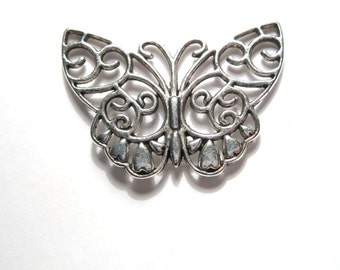 6pcs Antique Silver Large Butterfly Filigree Charms Connectors Links 38mm
