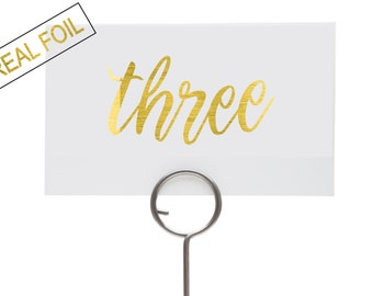 Wedding reception table numbers, real gold foil, landscape sign, pretty font, custom decor for wedding, choose your foil colour