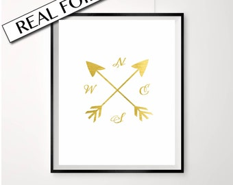 Gold Compass Print, North South East West, Arrow poster, Real Gold Foil, Pressed Foil Art, A4 Print, Compass Illustration, Gold on white