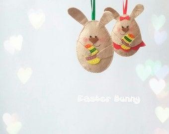 easter ornament, easter decoration, easter decor, easter bunny, easter egg, easter tree ornament, easter gift, felt bunny, easter baby decor