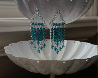 Blue Zircon Chandelier Earrings, December Birthstone Earrings, Swarovski Crystal, Chandelier Earrings, Blue Earrings, Bridesmaid Earrings