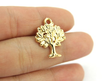 5 pcs Gold Tree Charms, (21mm x 16mm) Gold Tree of Life Pendant, 24k Matte Gold Plated Tree, Metal Gold Tree of Life Charm / GPS-132
