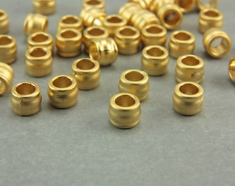 10 pcs Gold Barrel Spacers, (7mm x 5mm) Gold Spacers , 24 Matte Gold Plated Spacer Bead, Metal Gold Spacer Beads, Gold Spacers / GPY-036