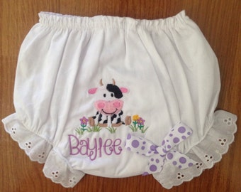 Embroidered diaper cover/ bloomers