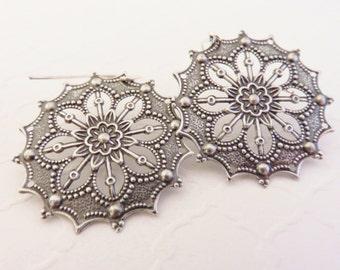 Silver Filigree Earrings - Vintage Inspired Jewelry, Big Earrings, Sterling Silver Earrings, Bohemian Jewelry, Boho Chic, Hippie Earrings