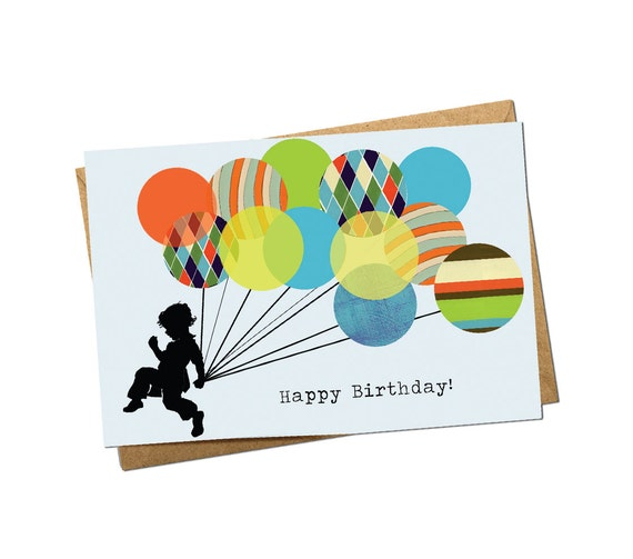 Running With Balloons Boy Birthday Card