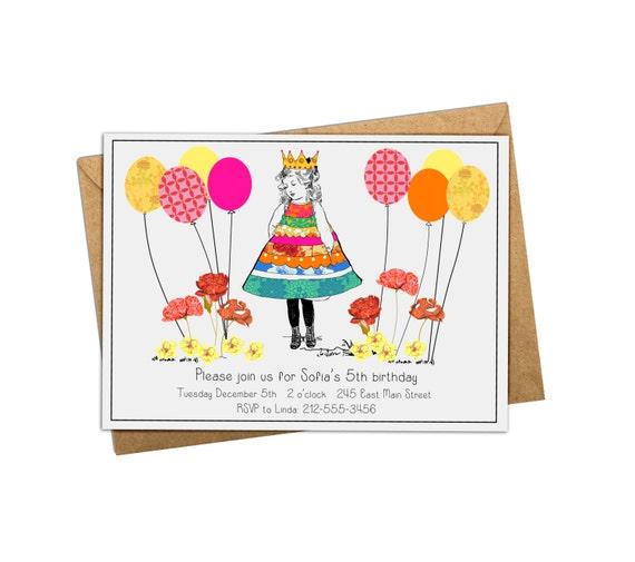 Digital Birthday Invitation. Princess Birthday Invite