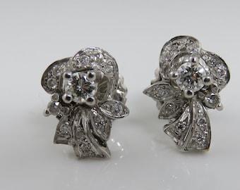 Antique 14k White Gold Diamond Post Earrings.