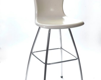 Vintage Mid Century Modern Retro Molded Fiberglass Shell Swivel Bar Stool Counter Bar Chair Hamilton Cosco Chair Stool Eames Era